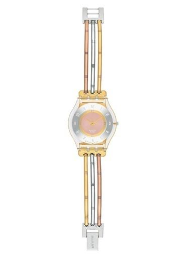 Swatch SFK240B 3 Renk Kordonlu İnce Bayan Saati Altın